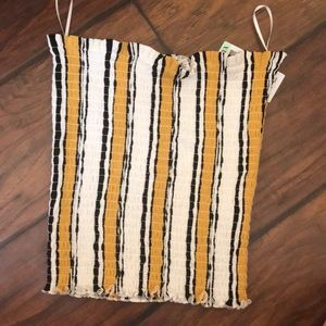 yellow striped tube top size small